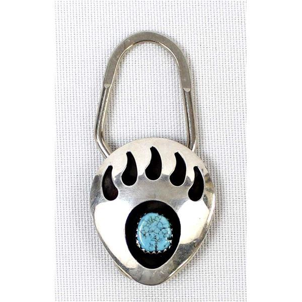 Navajo Turquoise Bear Paw Key Ring