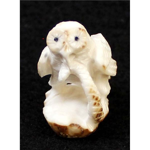 Zuni Fossilized Ivory Owl Fetish by Pernell Laate