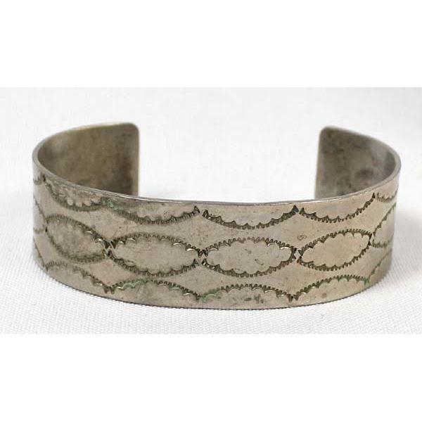 Vintage Navajo Sterling Hand Stamped Bracelet