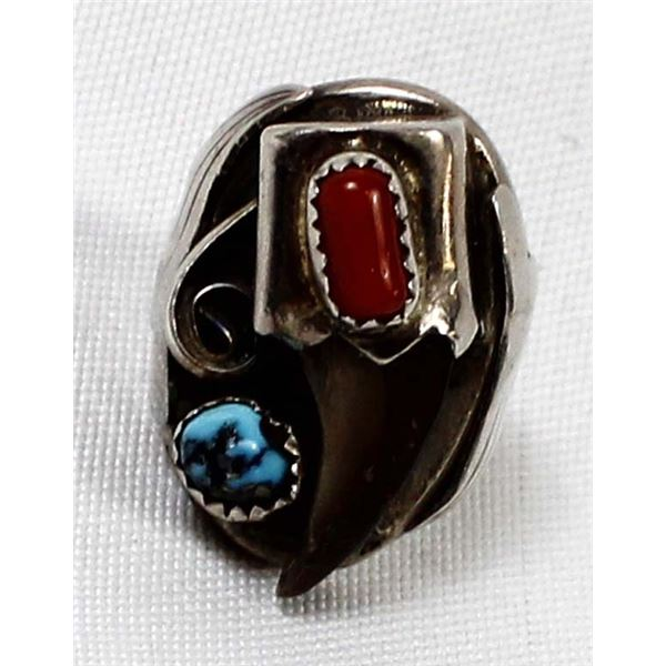 Navajo Sterling Turquoise Coral Ring, Size 6