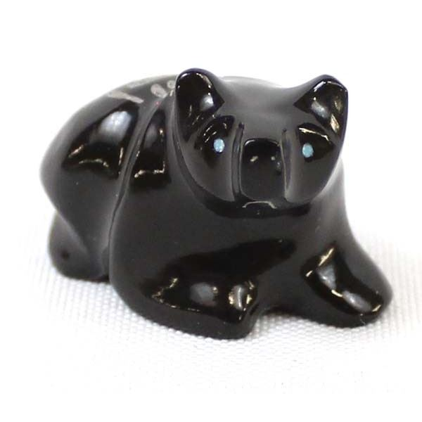 Zuni Carved Black Marble Bear Fetish by G. Acque