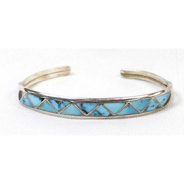 Zuni Sterling Turquoise Inlay Bracelet