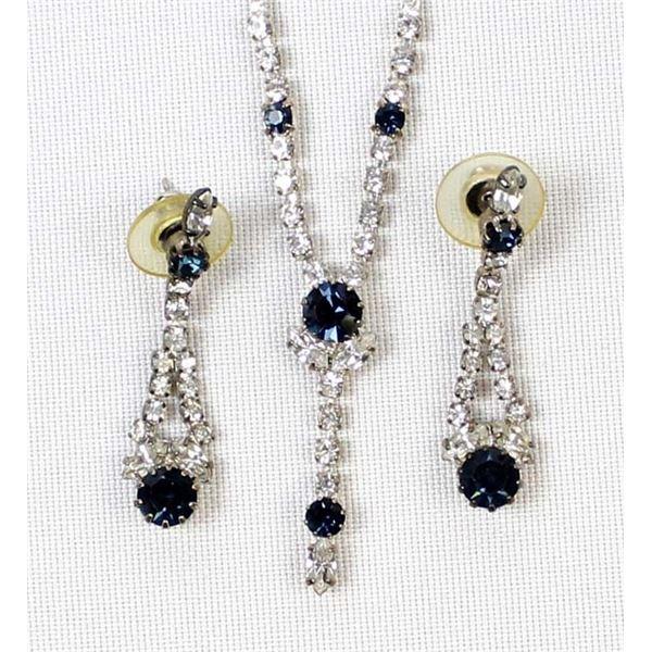 Vintage Estate Rhinestone Necklace & Earrings