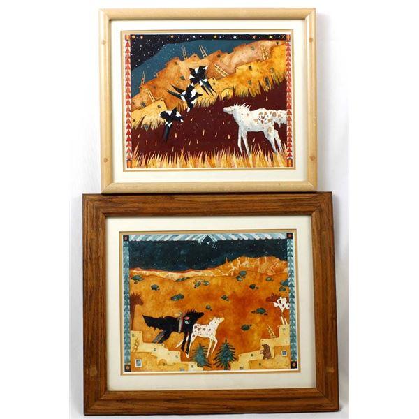 Pair of Original Carol Bowles Watercolor Paintings
