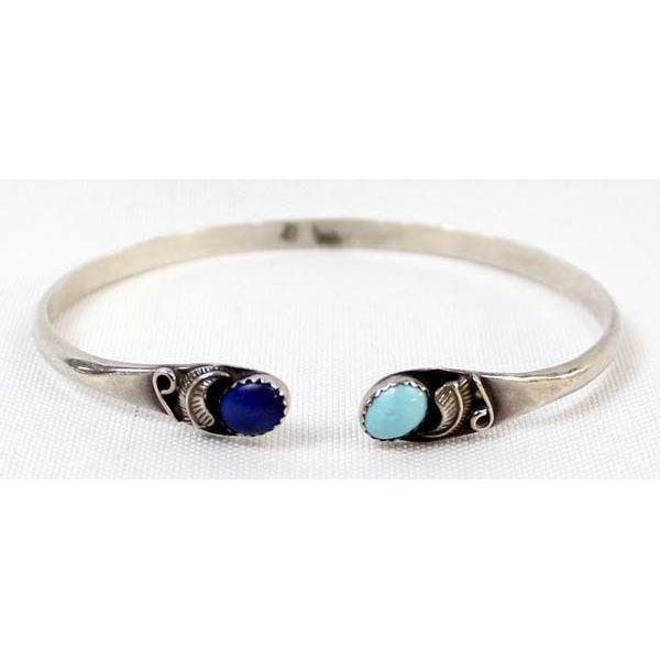 Navajo Sterling Turquoise Lapis Bracelet