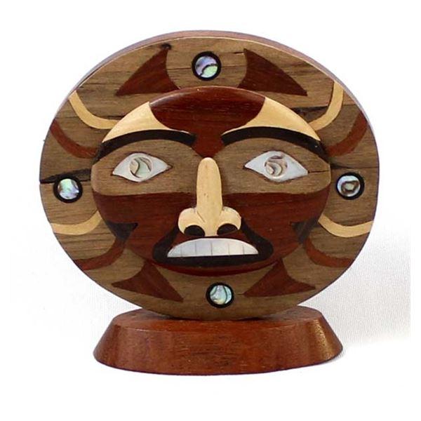 Northwest West Marquetry Wood Sun Sculpture