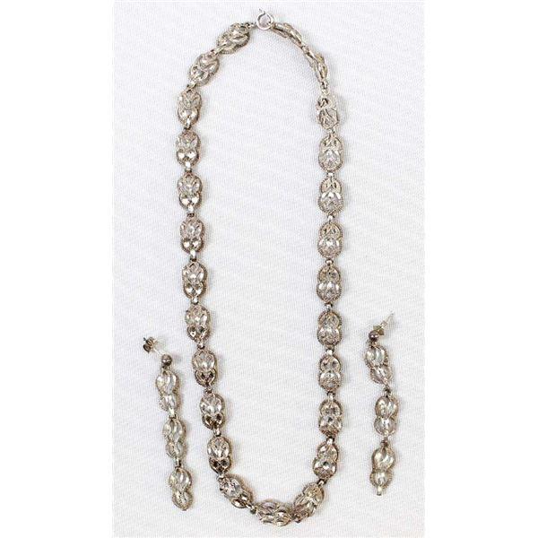 Estate Sterling Filigree Necklace & Earrings
