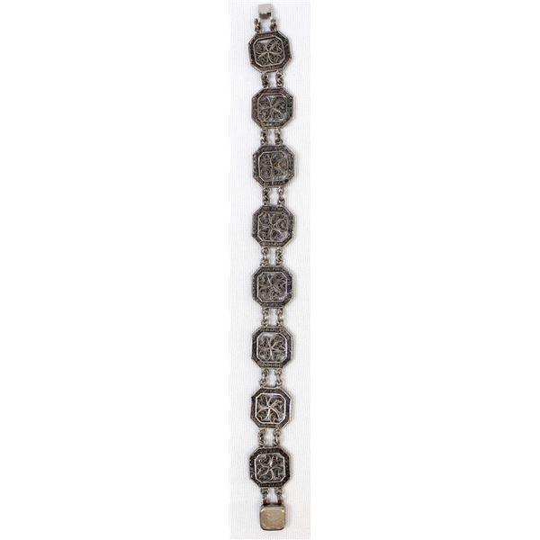 Estate Sterling Silver Filigree Link Bracelet