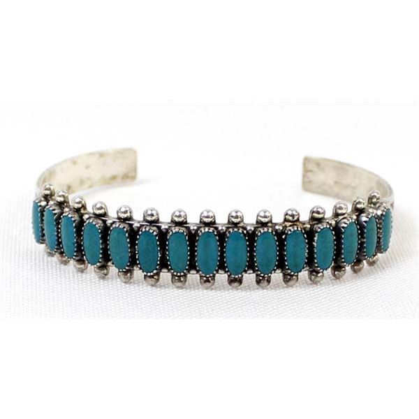 Navajo Route 66 Sterling Turquoise Bracelet