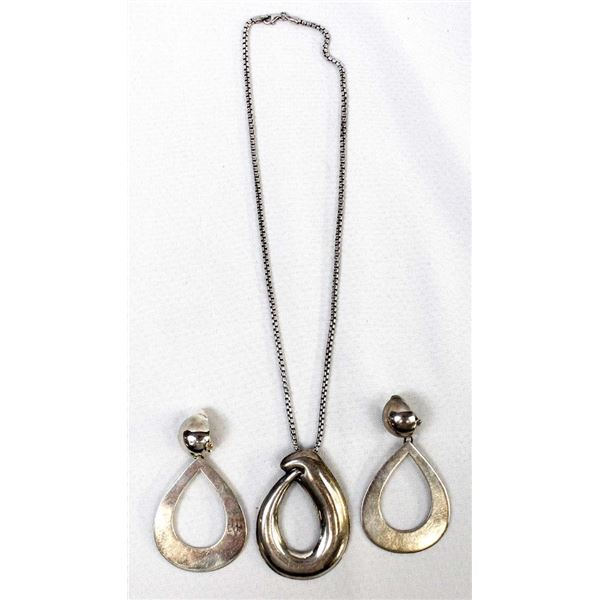 Taxco Sterling Pendant Necklace & Earrings