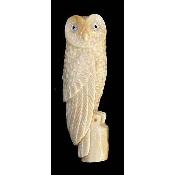 Zuni Carved Antler Owl Fetish by Charles Martinez, Jr.