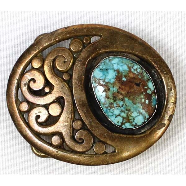 1977 Southwestern Brass and Turquoise Belt Buckle
