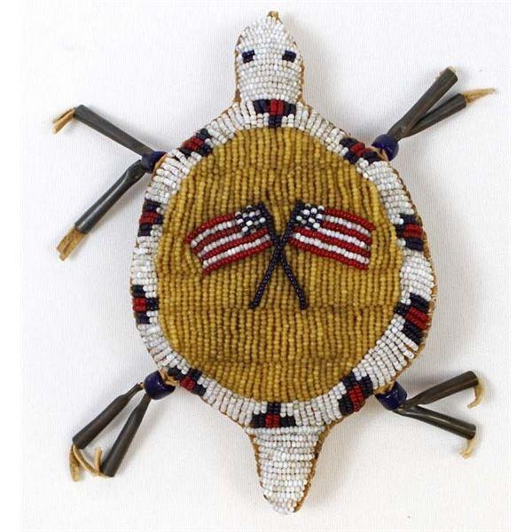 Antique Sioux Beaded Turtle Umbilical Cord Fetish