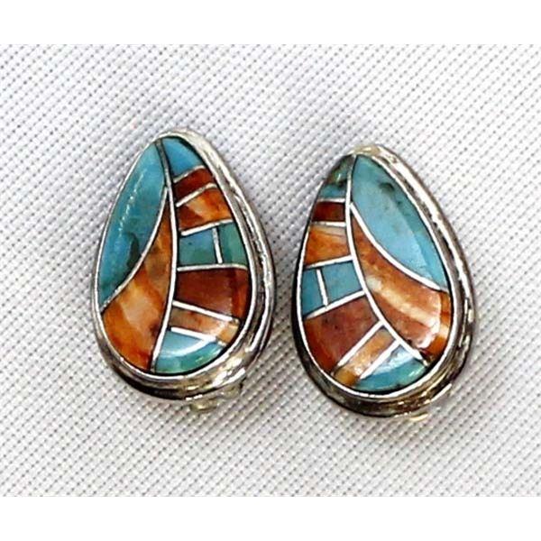 Zuni Sterling Multi-Stone Channel Inlay Earrings
