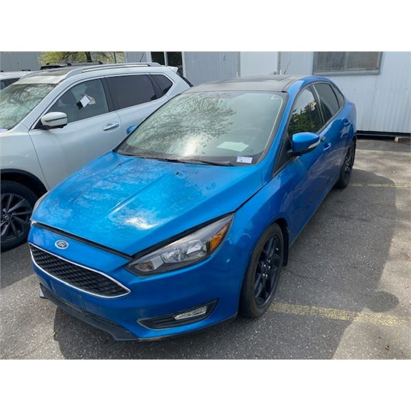 2015 FORD FOCUS SE, 4DR SEDAN, BLUE, VIN # 1FADP3F24FL377547