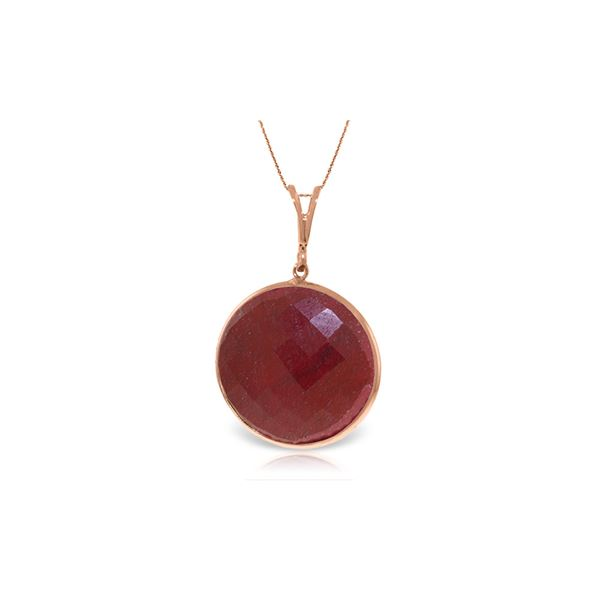 Genuine 23 ctw Ruby Necklace 14KT Rose Gold - REF-48X3M
