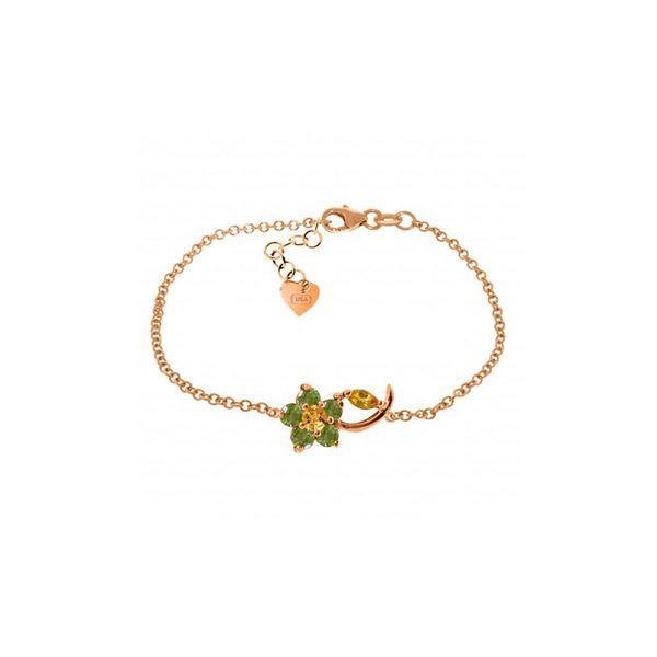 Genuine 0.87 ctw Citrine & Peridot Bracelet 14KT Rose Gold - REF-50A5K
