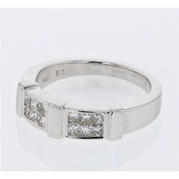 Natural 0.50 CTW Princess Diamond Ring W=5MM 14K Gold - REF-67X5T