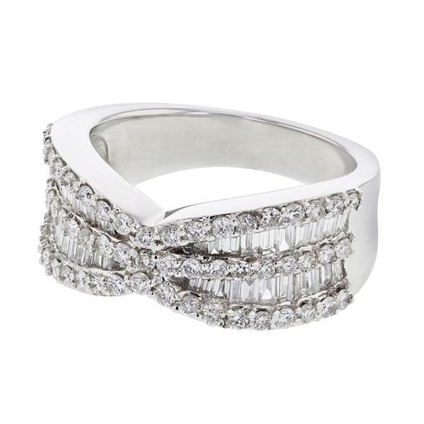 Natural 1.42 CTW Diamond & Baguette Ring 18K White Gold - REF-236H7W