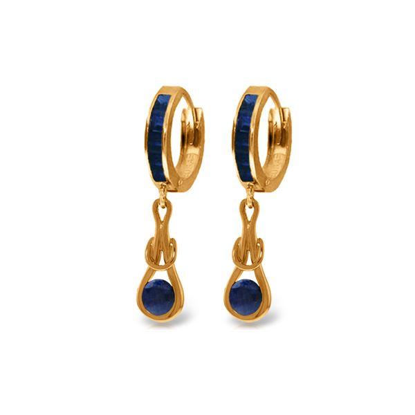Genuine 2.6 ctw Sapphire Earrings 14KT Rose Gold - REF-84H3X