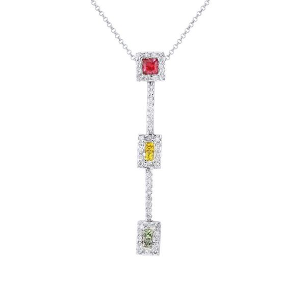 Natural 1.03 CTW Multi-Sapphire & Diamond Necklace 14K White Gold - REF-54Y9N