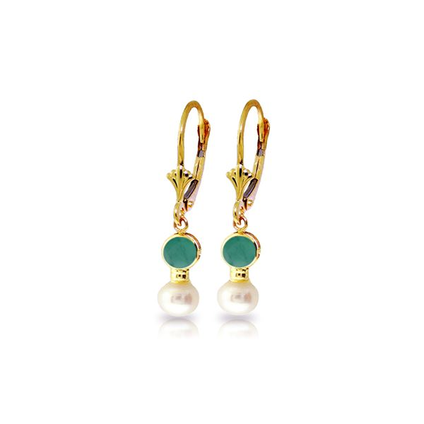 Genuine 5.2 ctw Emerald & Pearl Earrings 14KT Yellow Gold - REF-39A8K
