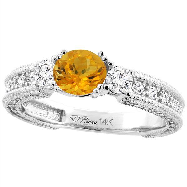 1.30 CTW Citrine & Diamond Ring 14K White Gold - REF-85A3X