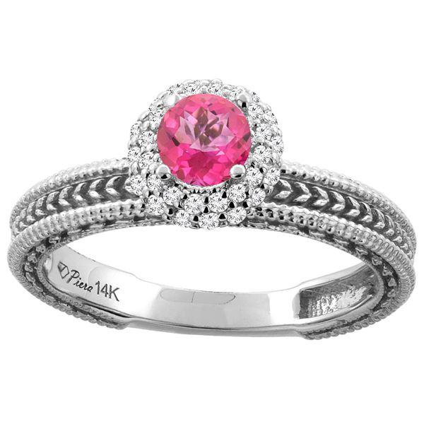 0.67 CTW Pink Topaz & Diamond Ring 14K White Gold - REF-53M3A