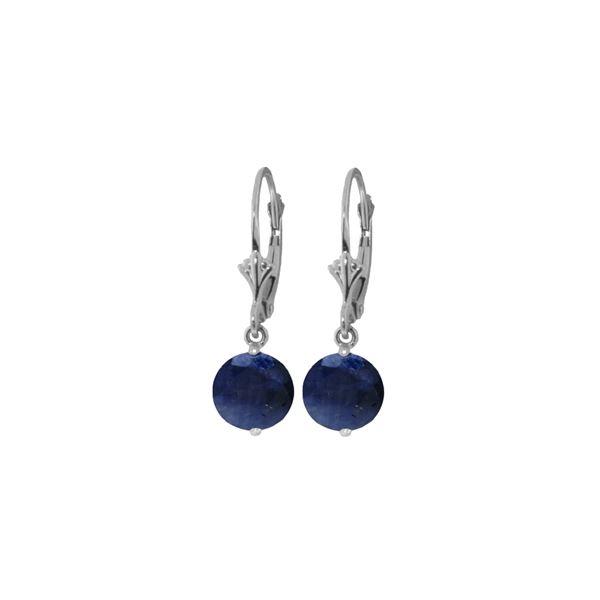 Genuine 3.3 ctw Sapphire Earrings 14KT White Gold - REF-45Z7N