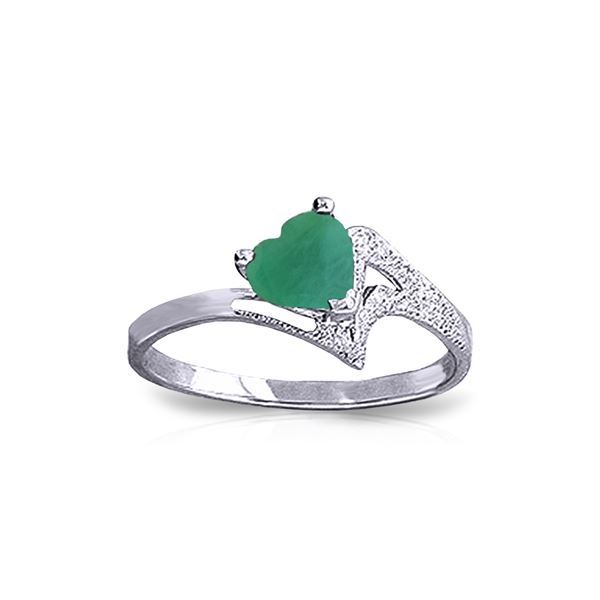 Genuine 1 ctw Emerald Ring 14KT White Gold - REF-43R2P