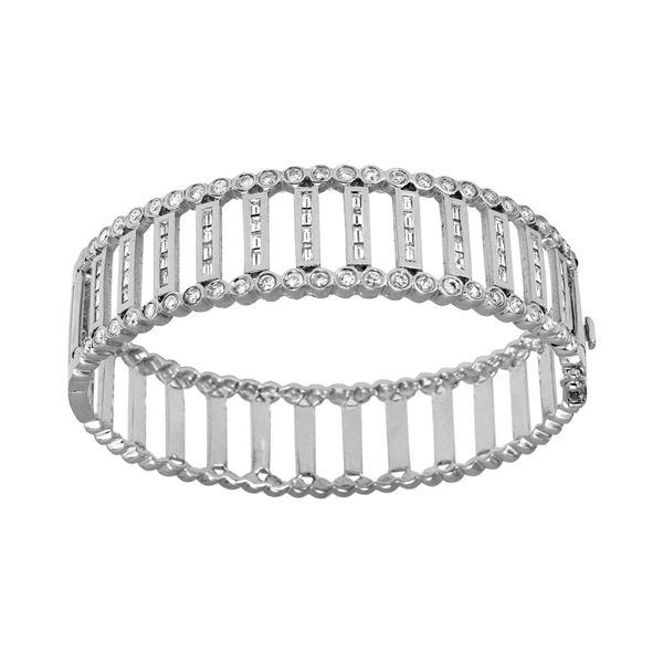 Natural 2.58 CTW Diamond & Baguette Bracelet 14K White Gold - REF-460X8T