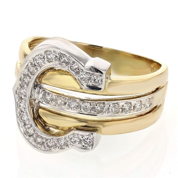 Natural 0.41 CTW Diamond Ring 18K Two Tone Yellow Gold - REF-112Y5N