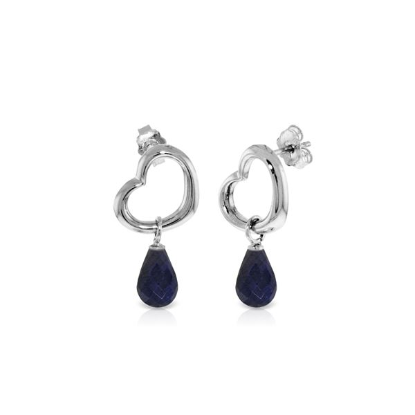 Genuine 6.6 ctw Sapphire Earrings 14KT White Gold - REF-47F2Z