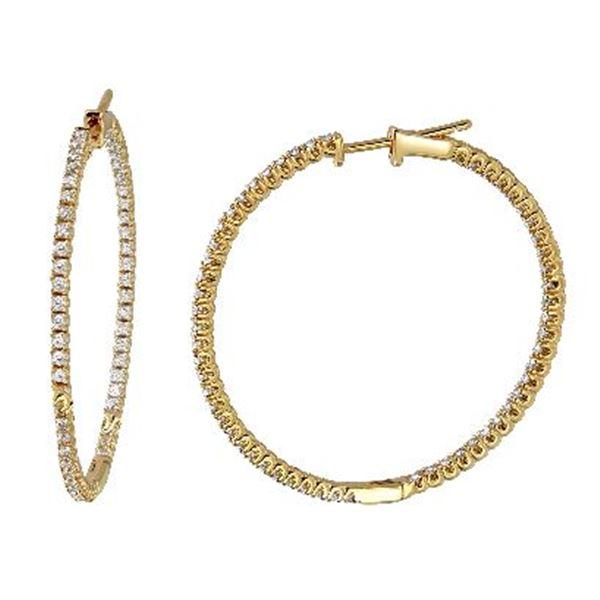 Natural 1.30 CTW Diamond Earrings 14K Yellow Gold - REF-167R4K