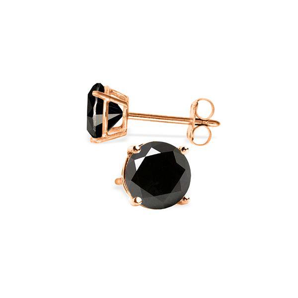 Genuine 2.0 ctw Black Diamond Earrings 14KT Rose Gold - REF-84V8W