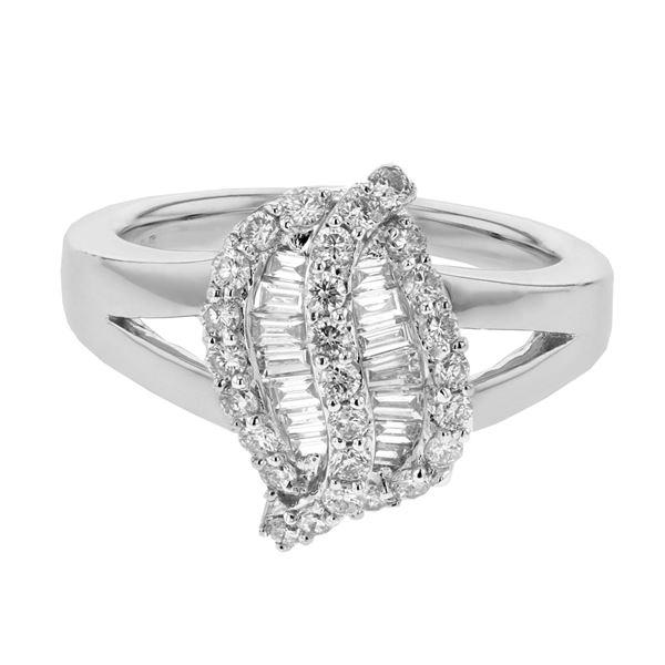 Natural 0.79 CTW Diamond & Baguette Ring 18K White Gold - REF-146Y7N