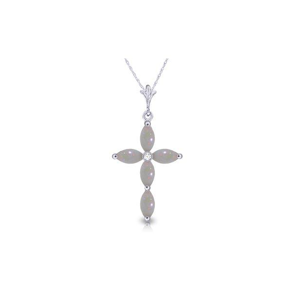Genuine 0.69 ctw Opal & Diamond Necklace 14KT White Gold - REF-31F2Z