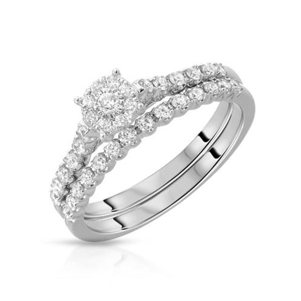 Natural 1.44 CTW Diamond & Wedding Ring Set 14K White Gold - REF-165H6W