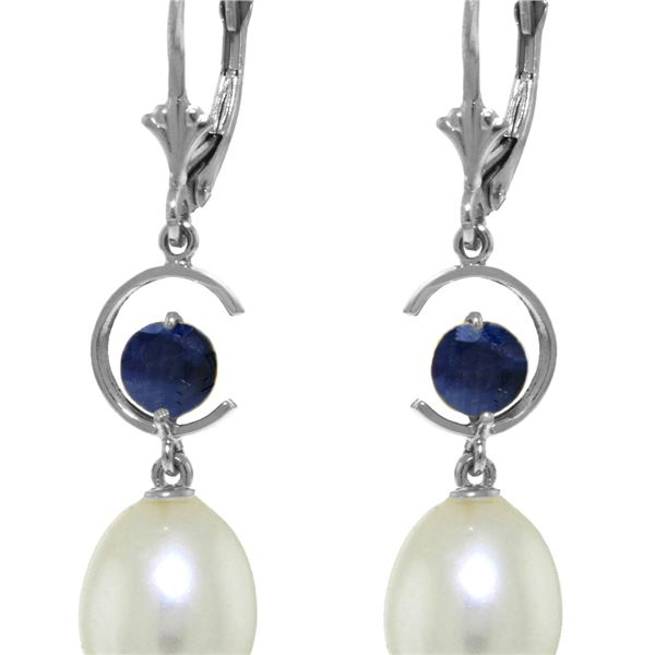 Genuine 9 ctw Pearl & Sapphire Earrings 14KT White Gold - REF-39X4M