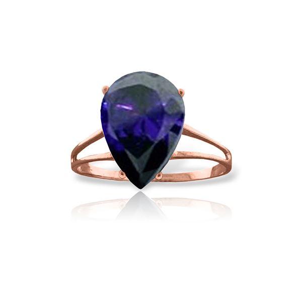 Genuine 4.65 ctw Sapphire Ring 14KT Rose Gold - REF-52M4T