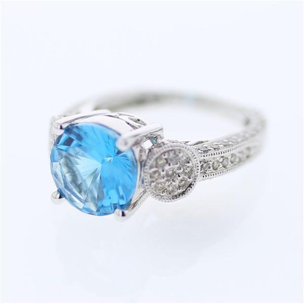 Natural 4.80 CTW Topaz & Diamond Ring 18K White Gold - REF-111R6K
