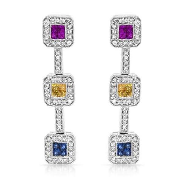 Natural 2.09 CTW Multi-Sapphire & Diamond Earrings 14K White Gold - REF-142H2W