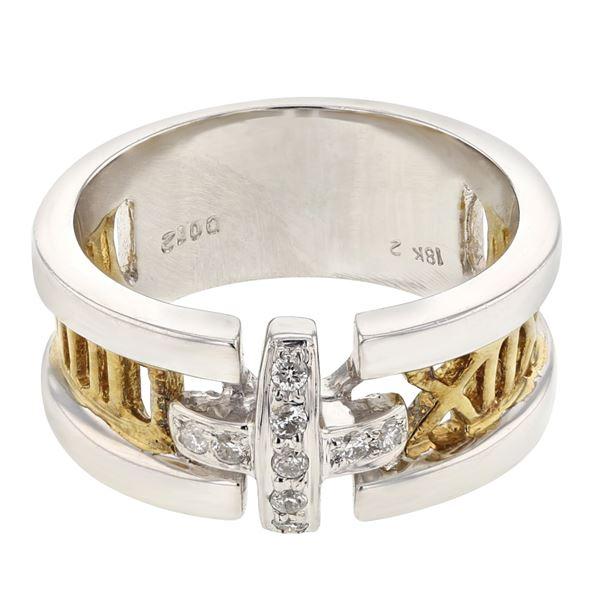 Natural 0.12 CTW Diamond Ring 14K Two Tone Yellow Gold - REF-77X4T