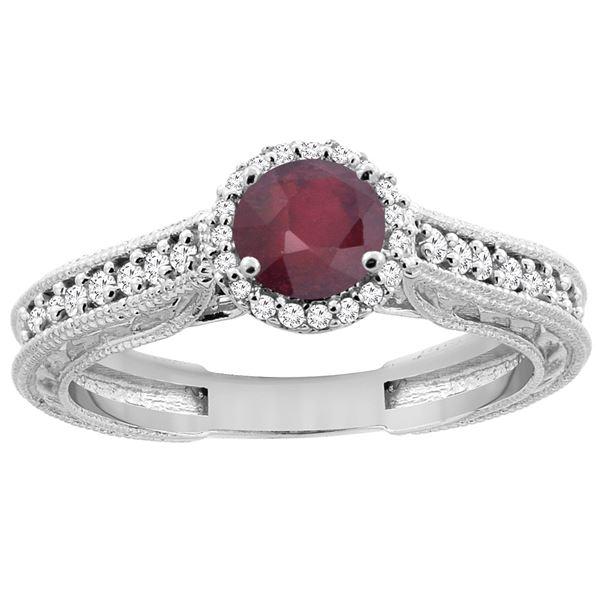 1.29 CTW Ruby & Diamond Ring 14K White Gold - REF-57R9H