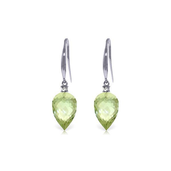 Genuine 19.1 ctw Green Amethyst & Diamond Earrings 14KT White Gold - REF-41N3R