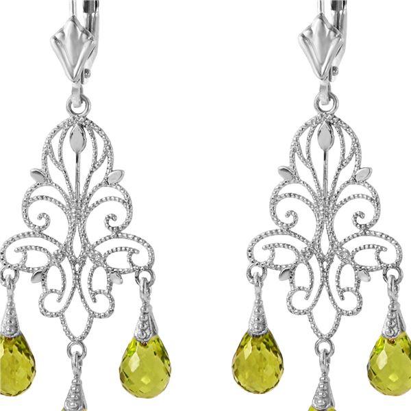 Genuine 3.75 ctw Peridot Earrings 14KT White Gold - REF-46K7V