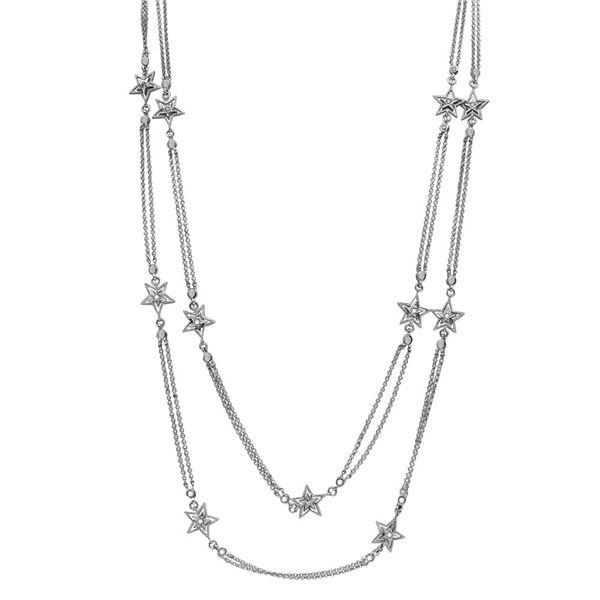 Natural 0.90 CTW Diamond Necklace 18K White Gold - REF-198X2T