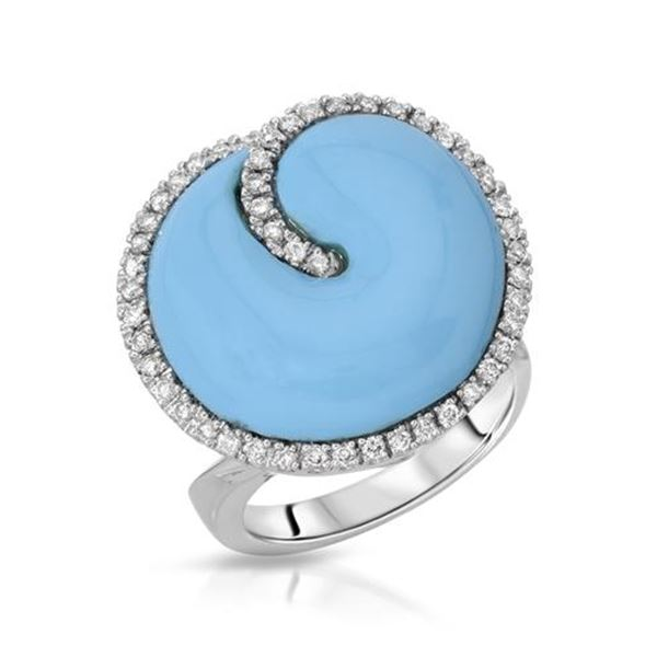 Natural 10.59 CTW Turquoise & Diamond Ring 14K White Gold - REF-116H3W
