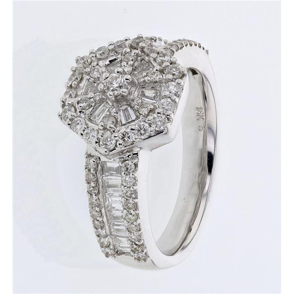 Natural 1.15 CTW Diamond Ring 18K White Gold - REF-196Y2N