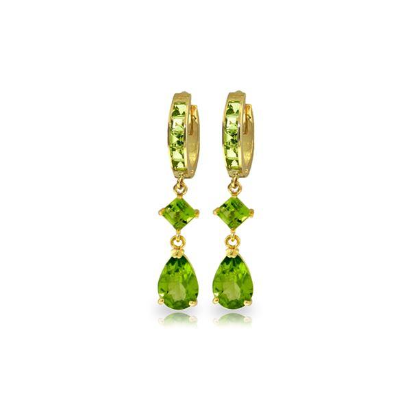Genuine 5.62 ctw Peridot Earrings 14KT Yellow Gold - REF-62R7P